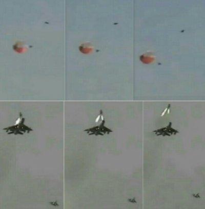 """вверху справа от парашюта темная точка - уже сделавшее свое доброе спасительное дело КАТАПУЛЬТНОЕ кресло МиГ-21БИС КМ-1М, еще секунд 5-7 с отставанием летящее по инерции за самолетом. Внизу справа - ПРИКРЫВАЮЩИЙ в 100-150м ВЕДОМЫЙ - не заметить В ПОЛЕ ЗРЕНИЯ С ОТКРЫТЫМИ ГЛАЗАМИ вспышку ВПЕРЕДИ ВЕДОМОГО (до 2-3км) и с ТАКОГО расстояния ОБГОНЯЯ впереди летящий самолет - еще одно - ПОДЛОЕ ВРАНЬЕ! """"...Пока мы зарулили, вертолёты уже сели и Гордиюк на носилках ждал нас у высотного домика."""" ВРАНЬЕ """"прикрывающего"""" подлеца - Ми-8 (Ефимов-Бухаров-Киншаков) и его ведомый зарул на стоянку 262овэ (ВСЕ подошли посмотреть - Ефимов уже ТРЕТЬЕГО """"свистка"""" (Су-17,Су-17,МиГ-21) """"вернул"""" на землю с """"того"""" света - да еще в КРАЙНИЙ БОЕВОЙ ДЕНЬ 262овэ на войне!), где уже стоял медицинский УАЗик, командир 927иап и """"ПРИКРЫВАЮЩИЙ"""" КЗ, которого сразу РП """"убрал подальше"""" от цели сразу на посадку после его """"похоронного"""" доклада. Если """"один в небе воин"""" КЗ ЕЩЕ В ВОЗДУХЕ """"похоронил"""" (НЕ СМОТРЕЛ ЗА ВПЕРЕДИ АТАКУЮЩИМ цель на земле МиГ-21БИС), то мог запросто помешать Ми-8 ПСО  забрать сбитого летчика. По закону """"подлости"""" ветром летчика """"вернуло"""" к разбитой цели - """"недолет"""" всего метров 300-400! Перед докладом КЗ в эфире """"ПОПАЛ"""" (это крайние слова, который я слышал в кабине """"своими ушами"""" перед катапультированием из самолета) летчик-штурман Сергей Бухаров не удержался напоследок похвалить меня """"МОЛОДЕЦ""""(я прямым попал в одну из казарм, на 7 атаке оттуда уже все """"жители"""" разбежались после первых взрывов). Для """"эстафеты 83-84"""" 262овэ был КРАЙНИЙ БОЕВОЙ ДЕНЬ. Накануне вечером я зашел попрощаться """"на коня"""" перед нашим КРАЙНИМ СОВМЕСТНЫМ боевым вылетом в Баграме 15 июня, 17 они улетели домой в Джамбул. Но в """"кратком дневнике"""" подлеца-""""прикрывающего"""" КЗ он """"забыл"""" это записать. Второй """"беспамятный"""" и НАГЛО ВРУЩИЙ пИсатель! Ведь ПСО для нашего вылета УЖЕ """"висело"""" ВО ВРЕМЯ УДАРА в 10км от цели """"на всякий пожарный""""! Комэска 262овэ м-р Константинов ВСЕГДА планировал на наши удары (БОЕВОЕ распоряжение из Каб"""