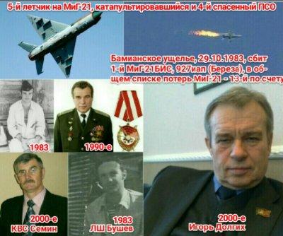 """Командир звена Бушев находился на месте ЛШ. 37 лет со 2-го дня РОЖДЕНИЯ исполняется в 2020г. Игорю Долгих, которого, РИСКУЯ СВОИМИ жизнями, """"случайно"""" (как и САМОГО ПЕРВОГО СБИТОГО, не в дежурном ПСО - а заходя за ранеными в медсанбат Баграма) """"на войне как на войне"""" спасли на последних секундах и с последним патроном в ПМ Игоря летчики 262овэ замполит Семин-КЗ Бушев-...(БТ не помню: это подполковник ВРУНгель должен был записать в своем боевом донесении и журнале боевых действий полка о ПЕРВОМ сбитом самолете 927иап, и ОБНАРОДОВАТЬ в своем ВРАНЬЕ """"в деталях""""). И 37 лет """"благодаря"""" этому ВРУНгелю (Жирохов и Марковский """"отдыхают"""": они """"не были, не участвовали, никакого понятия не имеют""""). ЗАБЫТЫ фамилии ВСЕХ спасающих от реальной смерти и плена, что намного страшнее. А Бушев - НЕ НАГРАЖДЕН (как Туктарев и Ефимов за спасение еще 2-х летчиков), хотя именно Бушев на правом кресле управлял и садился """"на головы"""" окружавших отстреливающегося уже 10 минут на земле Долгих. Патроны в пистолете заканчивались, а из-за заевшей """"молнии"""" на изгибе ранца НАЗ-7Б он не мог одной рукой достать АКС74У и 4 магазина """"при нем"""". В спокойной обстановке мы проверяли - """"молния"""" заедала часто на изгибе и надо было несколько раз обеими руками НЕ СПЕША (на войне это редкость) исправлять это положение. До Игоря Долгих (5-го выжившего на территории врага летчика на МиГ-21) НАЗовским автоматом НИКТО еще не отстреливался от противника. У САМОГО ПЕРВОГО спасшегося летчика на склоне гор он улетел в пропасть из разорванного на острых камнях капронового ранца. Одного со сбитой спарки летчика убили еще на парашюте, второго пленили после приземления - но автоматов у них в креслах еще не было: они только как 7 дней начали воевать с заменщикам вместе - оружие не успели переложить. Еще двое оказались на земле в более спокойной обстановке где не было нужды его применять. Не помню (к большому сожалению - ему я БЛАГОДАРЕН за """"перемещение"""" автомата на отдельный фал 1,5м вместо лодки и вне сумки) фамилию нач.ПДС и"""