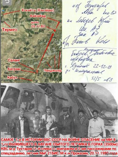 """Мало кто даже в армейской авиации знает про экипаж Ми-8МТ Туктарев(1-й слева)-Лебедев(4-й слева)-Попов(6-й слева), который совершенно случайно оказался в нужное время в нужном месте в пределах 10 подлетных минут, где проводилась войсковая операция в горах. Пара вертолетов Ми-8Т, выделенная для ПСО ударных  истребителей, по своим ТТД  (двигатели в высокогорье более 3000м были слабоваты и не обеспечивали необходимую тягу для зависания и выполнения посадки) пытались, но так и не смогли бы при всем желании выполнить просьбы командира аэ Федченко - эвакуировать со склона гор сбитого летчика Л.Проказина. И опять необыкновенное везение (как в индийском кино!) на войне в судьбе САМОГО ПЕРВОГО СПАСШЕГОСЯ на последних секундах и ВЫЖИВШЕГО В ГОРАХ НА ВОЙНЕ ВВС СССР сбитого летчика!  Совершенно СЛУЧАЙНО и РЯДОМ МИМО пролетал, возвращаясь со спецзадания с двумя гражданскими переводчиками (на фото 2-й и 5-й) языка фарси из дальних аулов, вертолет более новой модификации Ми-8МТ. Его двигатели позволяли этому винтокрылу выполнить в высокогорье зависание и саму посадку. КВС майор Туктарев УСЛЫШАЛ на рабочем канале связи и отозвался на призывы комэски Федченко и вклинился в группу """"тэшэк"""", чтобы спасти жизнь одного Проказина, рискуя пятью жизнями своего экипажа и пассажиров! В своих воспоминаниях участник и свидетель событий летчик второй пары  М.Правдивец забыл этот нюанс (все-таки 40 лет уже уплыло!), но без командирской инициативы Туктарева вмешаться в """"кучу малу"""" Леониду Проказину пришлось бы очень худо или еще хуже: погибнуть в коротком неравном бою без автомата АКС74У и 4-х рожков к нему (на острых камнях из порвавшейся капроновой сумки НАЗа они безвозвратно """"загремел"""" на самое дно глубокой пропасти вместе с алюминиевым котелком ЗШ-3 шлемофоне) или подорваться гранатой, чтобы избежать вражеского плена. Редчайший случай на ПЕРВОЙ ВОЙНЕ ВВС СССР, когда в Афганистане ВПЕРВЫЕ ИСПОЛЬЗОВАЛИСЬ вертолёты для спасения жизни летчика, сбитого на вражеской территории! И благодаря решительн"""